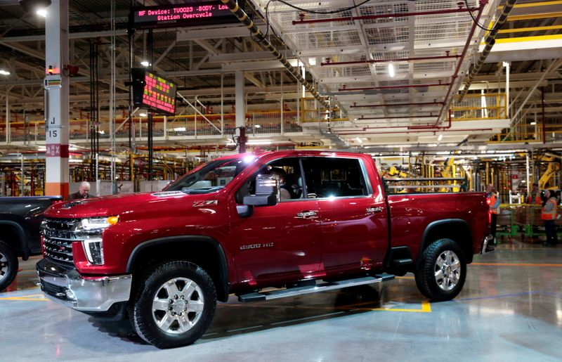 FILE PHOTO: General Motors Co displays the Chevrolet 2020 Silverado HD pickup truck at the GM Flint Assembly Plant in Flint, Michigan