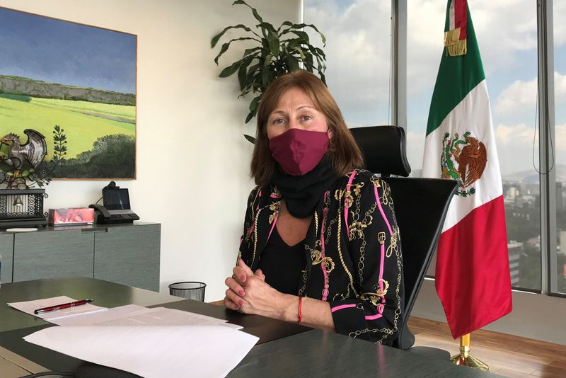 FILE PHOTO: Mexican Economy Minister Tatiana Clouthier gestures during an interview with Reuters in Mexico City