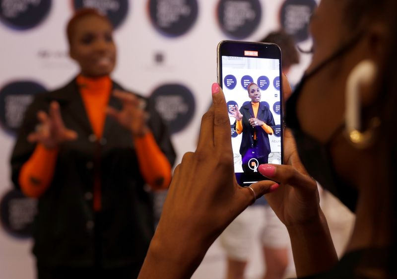 Singer-songwriter Arlo Parks is seen on a smartphone during an interview following her nomination in the Hyundai Mercury Prize