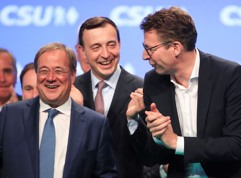 The CDU candidate for Chancellor Laschet attends the CSU party meeting in Nuremberg