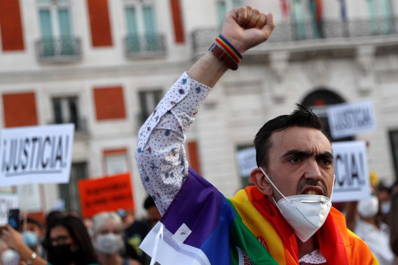 LGBTIQ+ activists and supporters protest hate crimes in Madrid