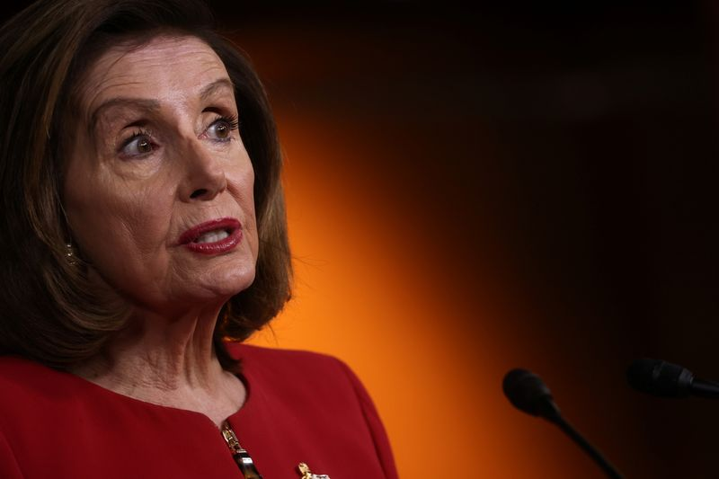 US House Speaker Pelosi holds her weekly news conference at the US Capitol in Washington