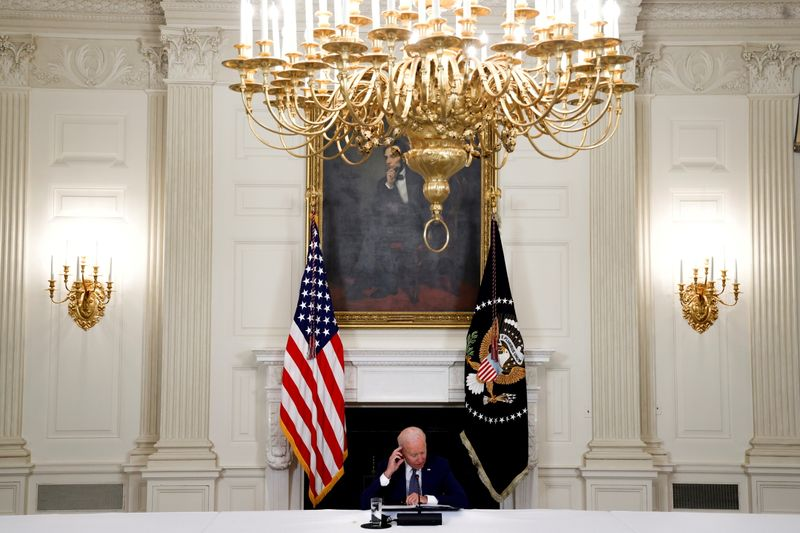FILE PHOTO: U.S. President Biden speaks about the death of AFL-CIO President Trumka, during remarks at the White House in Washington