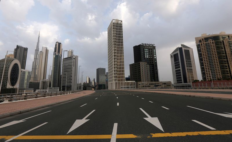 FILE PHOTO: General view of Business Bay area, after a curfew was imposed to prevent the spread of the coronavirus disease (COVID-19), in Dubai