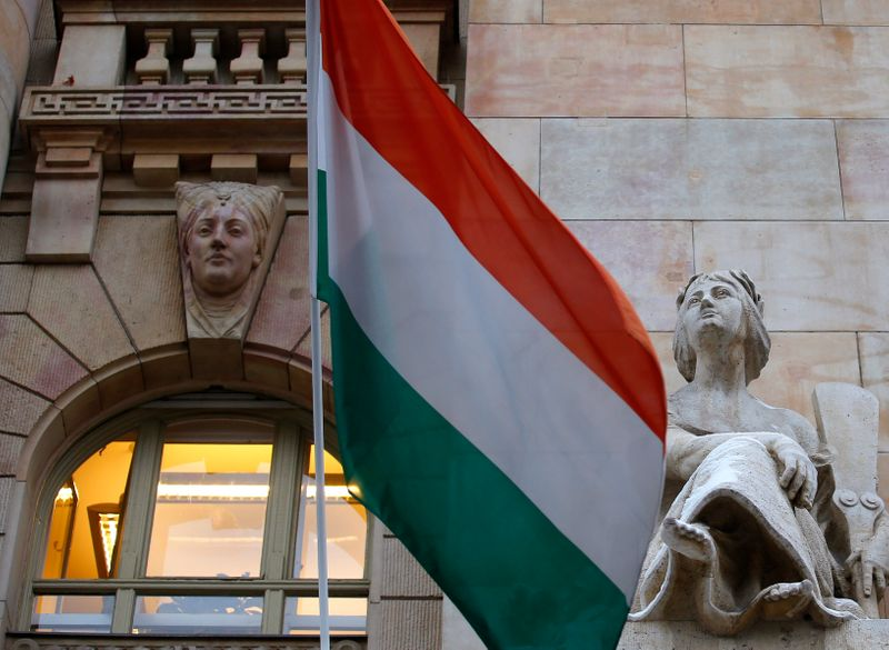 FILE PHOTO: The Hungarian national flag flies on the building of the National Bank of Hungary in Budapest