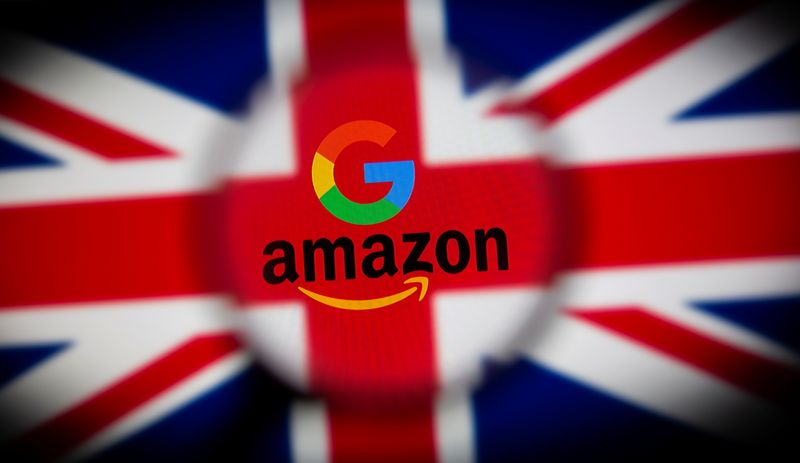 UK flag, Google and Amazon logos are seen displayed through magnifier in this illustration picture