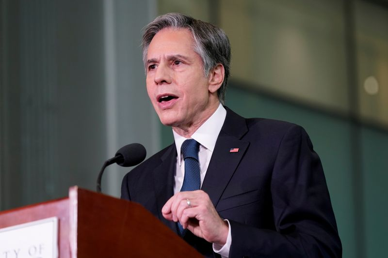 FILE PHOTO: US Secretary of State Antony Blinken speaks about infrastructure investments at the University of Maryland's A James Clark School of Engineering in College Park