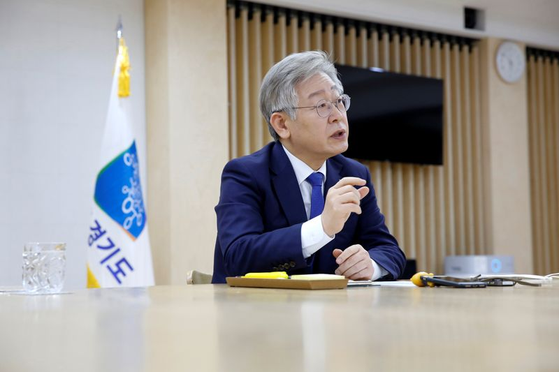 Gyeonggi Province Governor Lee Jae-myung speaks during an interview with Reuters in Suwon