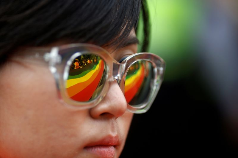 FILE PHOTO: A participant takes part in the Korea Queer Culture Festival 2016 in Central Seoul
