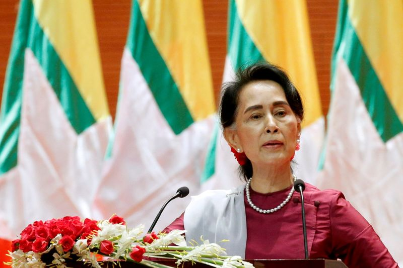 FILE PHOTO: Myanmar's State Counselor Aung San Suu Kyi delivers a speech to the nation on the situation of Rakhine and Rohingya in Myanmar