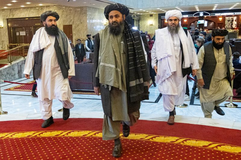 FILE PHOTO: Taliban negotiator Mullah Abdul Ghani Baradar attends Afghan peace conference in Moscow