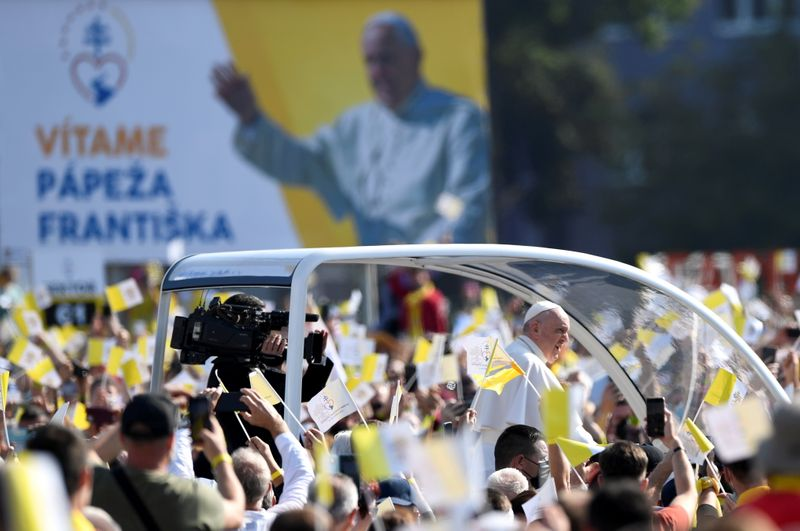 Pope Francis on a visit to Slovakia