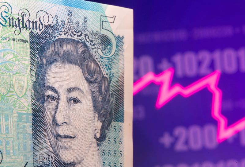 A British Pound banknote is seen in front of displayed stock graph in this illustration