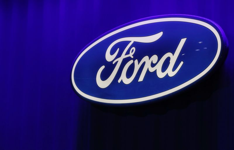 FILE PHOTO: Ford logo is seen at the North American International Auto Show in Detroit, Michigan