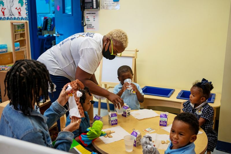 FILE PHOTO: Yellen, Harris to argue that investments in child care benefit economy