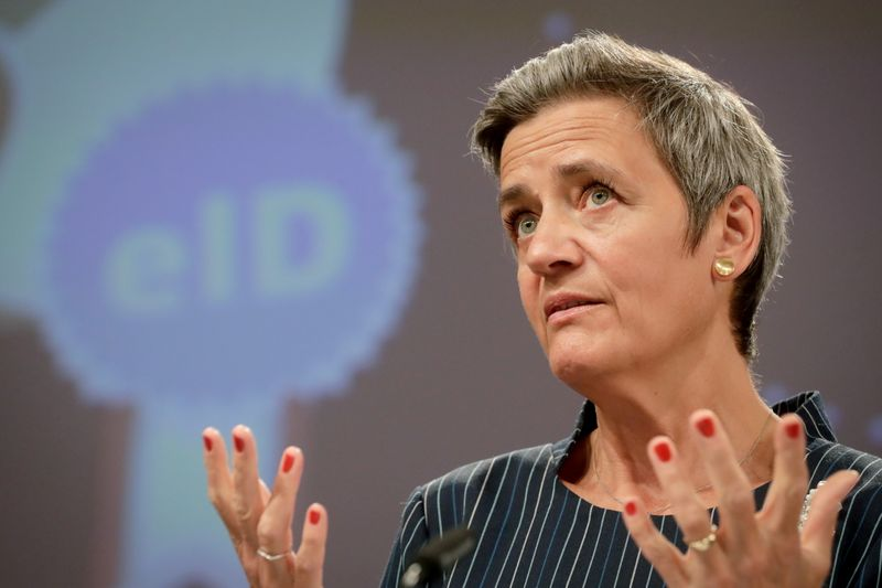 FILE PHOTO: Margrethe Vestager  gives a press conference at the European Commission in Brussels, Belgium June 3, 2021.