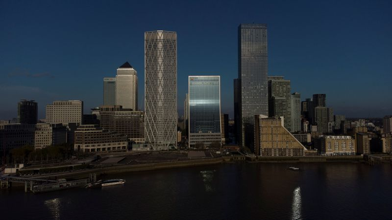 A general view of the Canary Wharf financial district in London