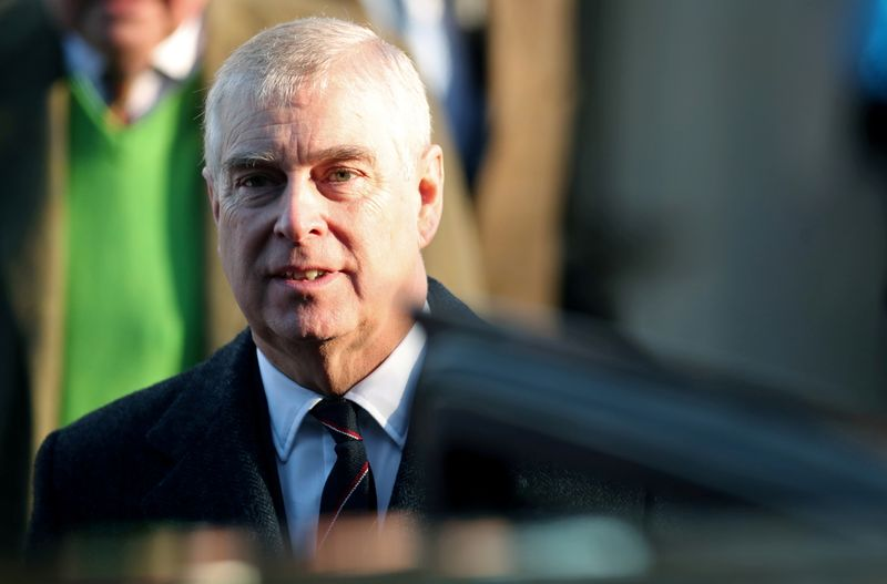 FILE PHOTO: Britain's Prince Andrew leaves St Mary the Virgin church in Hillington