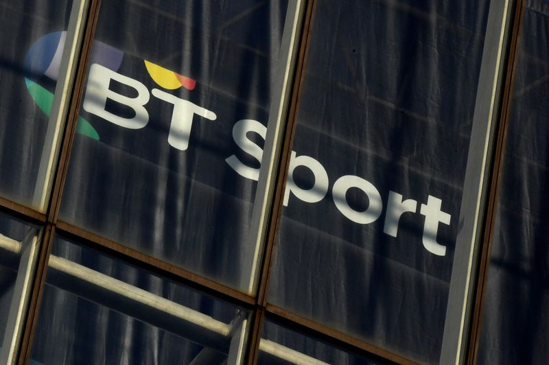 FILE PHOTO: FILE PHOTO: A BT Sport logo is displayed in an office in the City of London