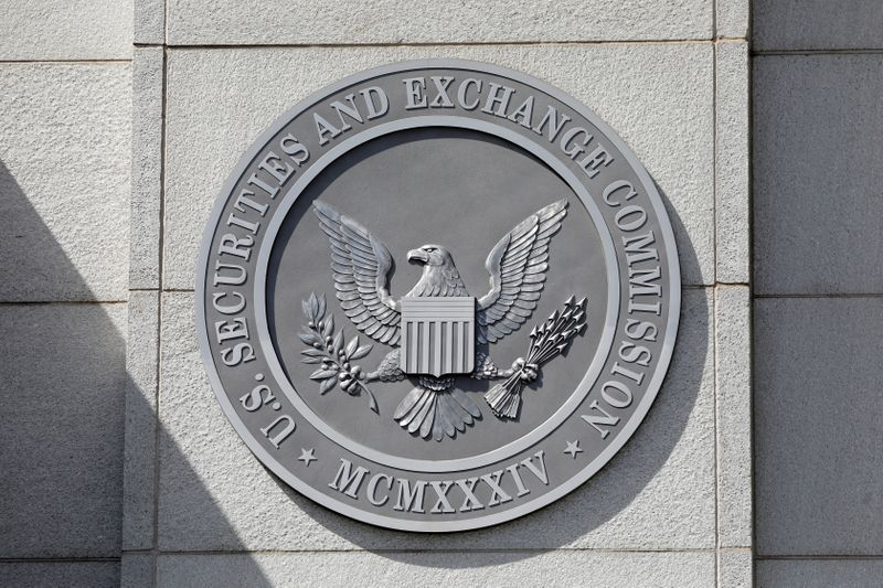 FILE PHOTO: The seal of the U.S. Securities and Exchange Commission (SEC) is seen at their headquarters in Washington, D.C.