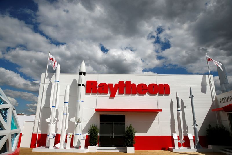 FILE PHOTO: The Raytheon stand is seen at the 53rd International Paris Air Show at Le Bourget Airport near Paris