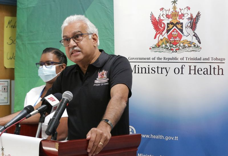 Trinidad and Tobago's Health Minister Terrence Deyalsingh receives a vaccine against the coronavirus disease (COVID-19), in Champs Fleur