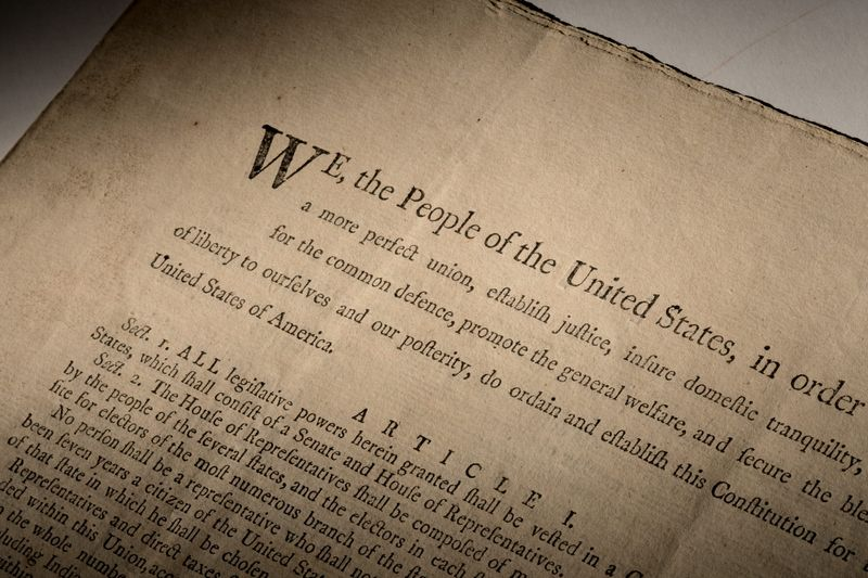 Handout image of an extremely rare official first-edition printed copy of the U.S. Constitution as adopted by delegates to the Constitutional Convention in Philadelphia in 1787