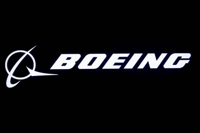 FILE PHOTO: The Boeing logo is displayed on a screen at the NYSE in New York