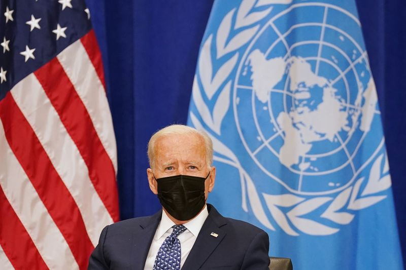 U.S. President Joe Biden meets with United Nations Secretary-General Antonio Guterres at the 76th Session of the U.N. General Assembly in New York