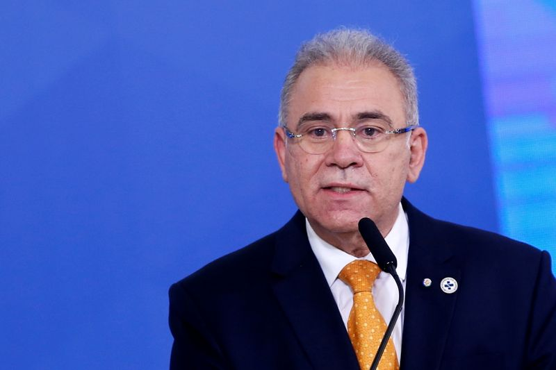 Brazil's Health Minister Marcelo Queiroga speaks during a ceremony at the Planalto Palace