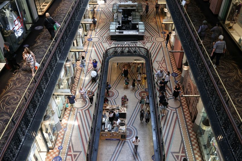 FILE PHOTO: Holiday shoppers are seen in a mall in the city centre of Sydney