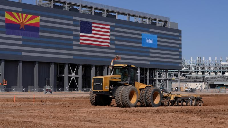 A handout photo shows construction equipment at the site of a future Intel Corp chip factory in Chandler, Arizona
