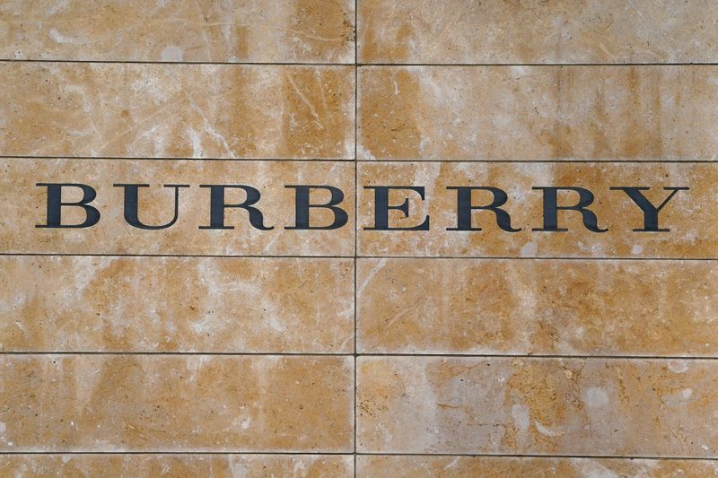 FILE PHOTO: FILE PHOTO: A Burberry logo is seen outside the store on 5th Ave in New York