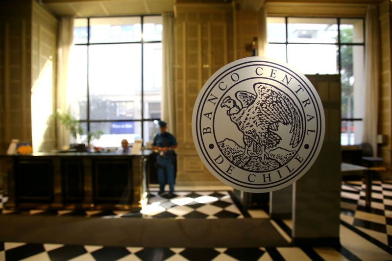 FILE PHOTO: The emblem of the Chile's Central Bank is seen at its headquarters in Santiago