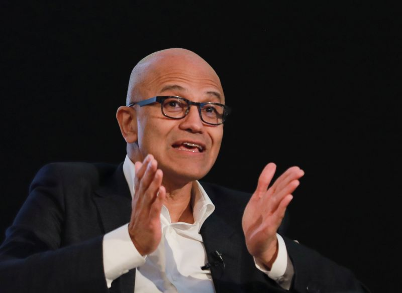 Satya Nadella, Chief Executive Officer of Microsoft, gestures as he attends Microsoft's 'Young Innovators' Summit' in New Delhi