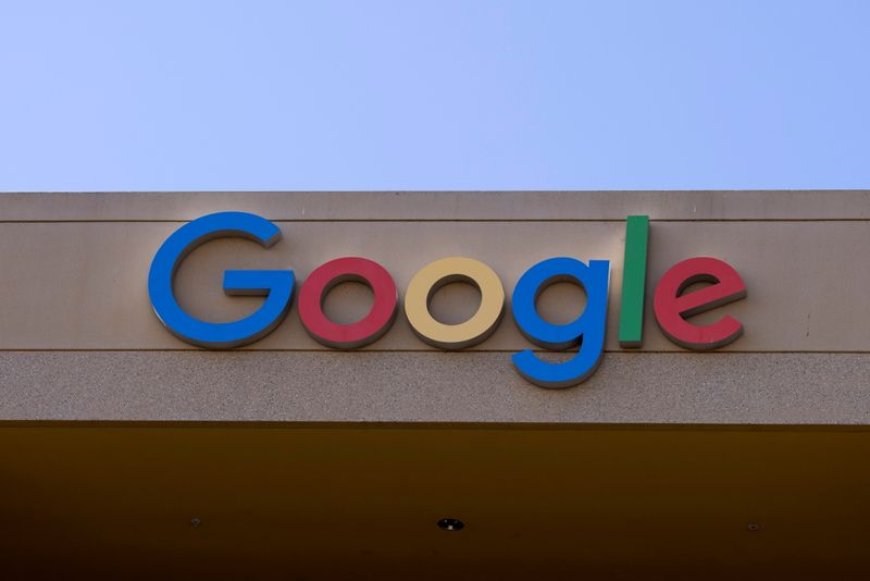 FILE PHOTO: The Google sign is shown on one of  the company's office buildings in Irvine, California