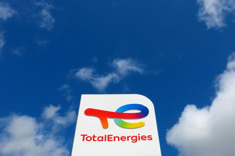 FILE PHOTO: The logo of French oil and gas company TotalEnergies at a petrol station in Ressons