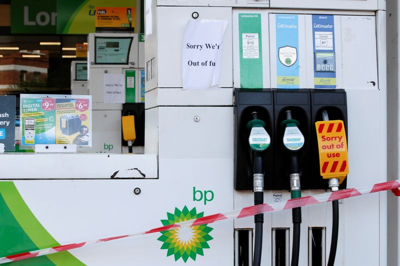 A BP petrol station that has ran out of fuel is seen in London
