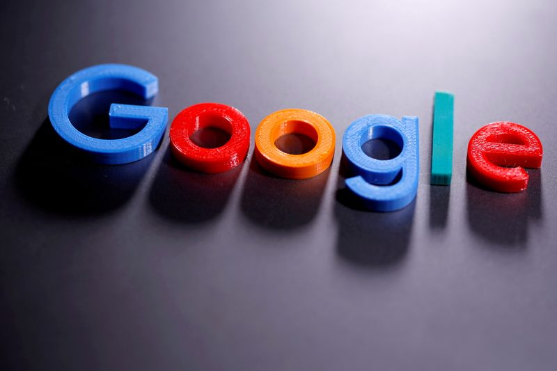 FILE PHOTO: FILE PHOTO: A 3D-printed Google logo is seen in this illustration