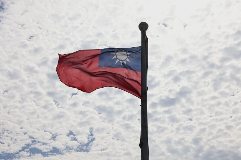 FILE PHOTO: A Taiwanese flag flaps in the wind in Taoyuan