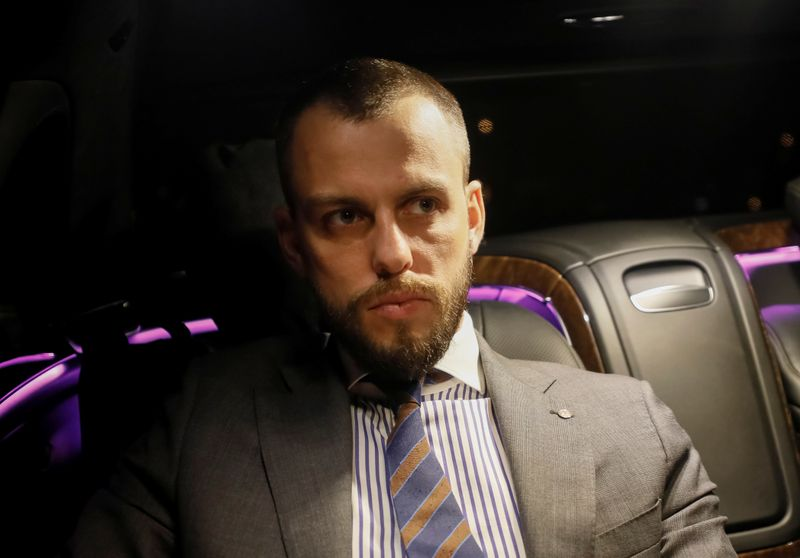 Ilya Sachkov, head of Russia's Group IB cybersecurity company, is seen in a car in Moscow