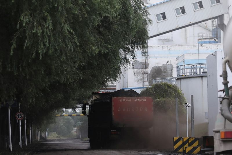 Truck transports coal at a coal-fired power plant in Shenyang, Liaoning