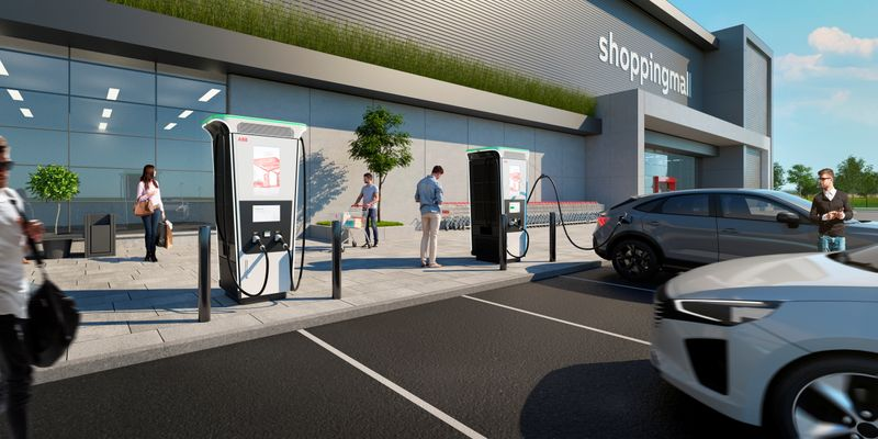 Digital visualization of ABB's new Terra 360 electric vehicle charger