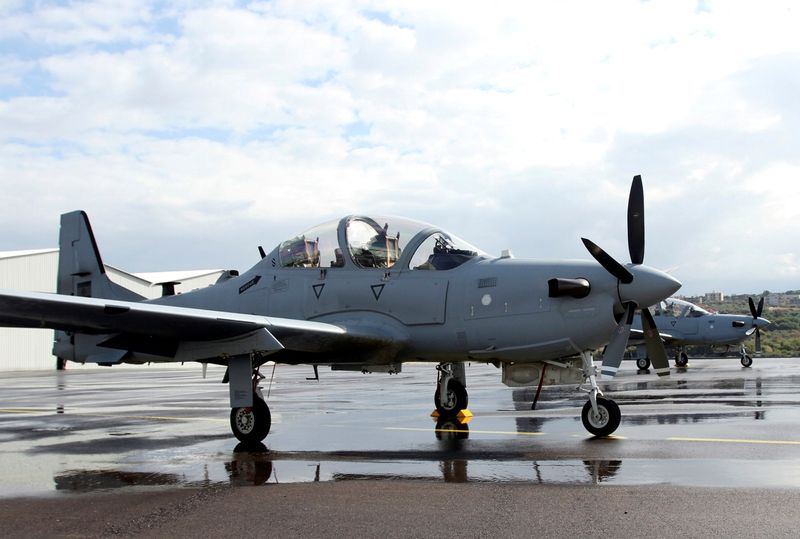 FILE PHOTO: An A-29 Super Tucano light attack aircraft is seen in Hamat Air Base in Lebanon's mountains
