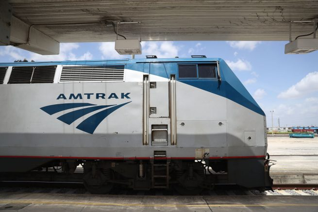 MIAMI, FL - MAY 24: An Amtrak train is seen as people board at the Miami station on May 24, 2017 in Miami, Florida. President Donald Trump's budget proposal would terminate federal dollars that support Amtrak's long-distance services, which would potentially mean an elimination of all Amtrak service in Florida. (Photo by Joe Raedle/Getty Images)