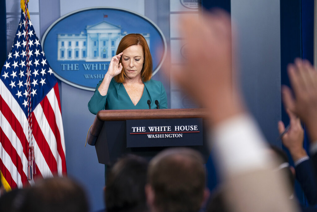White House press secretary Jen Psaki pauses during a press briefing at the White House, Wednesday, Sept. 1, 2021, in Washington. (AP Photo/Evan Vucci)