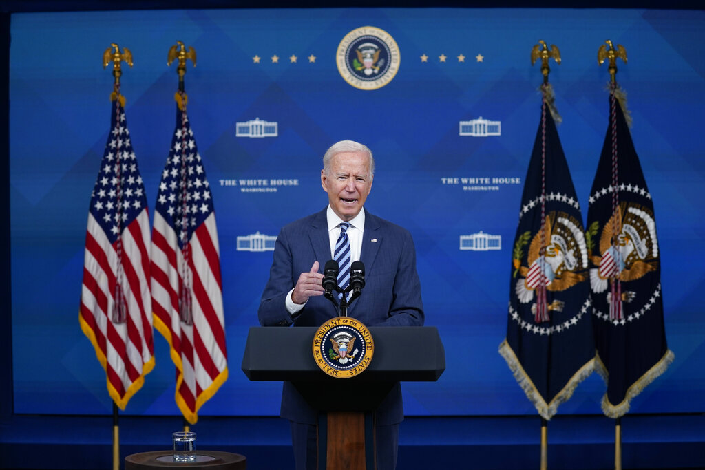 President Joe Biden delivers remarks on his Administration's response to Hurricane Ida in the South Court auditorium of the White House in Washington, DC on September 2, 2021. (Photo by Oliver Contreras/Sipa USA)(Sipa via AP Images)