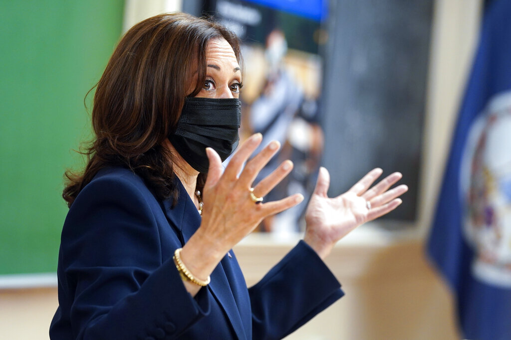 Vice President Kamala Harris gestures while participating in a round table discussion during a visit to Hampton University in Hampton, Va., Friday, Sept. 10, 2021. (AP Photo/Steve Helber)