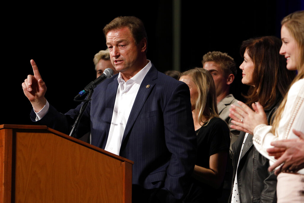 FILE - In this Nov. 6, 2018, file photo, Sen. Dean Heller, R-Nev., makes his concession speech during the NVGOP Election Night Watch Party in Las Vegas. Heller plans to announce a bid for governor of Nevada on Monday, Sept. 20, 2021, joining a crowded field of Republican hopefuls vying for a chance to unseat Democratic Gov. Steve Sisolak in 2022. (AP Photo/Joe Buglewicz, File)