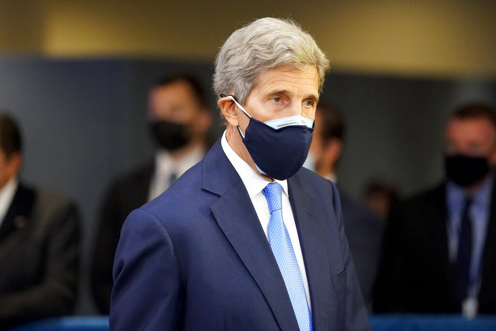 John Kerry, U.S. Special Presidential Envoy for Climate, arrives at United Nations headquarters, Tuesday, Sept. 21, 2021, during the 76th Session of the U.N. General Assembly in New York. (AP Photo/John Minchillo, Pool)